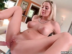 Blonde hottie with a great body takes creampie tubes