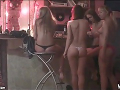 Nude girls smoking and drinking at a party tubes