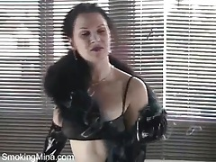 Latex gloves and panties on sexy smoking girl tubes