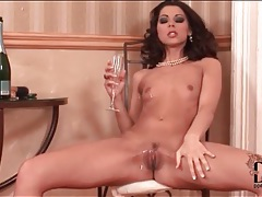 Skinny klaudia hope pours champagne on her body tubes