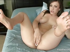 Jennifer white fingers and toys her tight pussy tubes