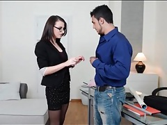 Office babe in skirt and glasses sucks his cock tubes