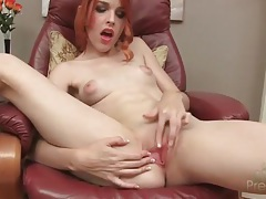 Redhead has hot solo sex with a big dildo tubes