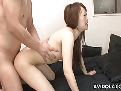 Tight japanese pussy takes his hot creampie tubes