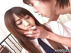 Cute japanese schoolgirl rubbed on her clitoris tubes