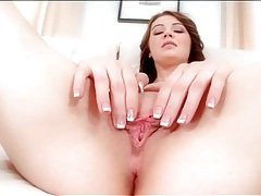 Hottie wakes up and rubs her bald pussy tubes