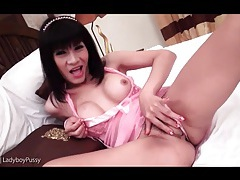 Big tits on display as asian fingers her tight pussy tubes