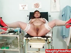 Big juggs aged wife wears practical nurse uniform and gets freaky tubes