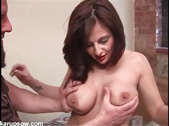 Milf in pink lingerie and lipstick sucks a dick tubes
