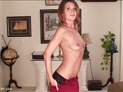 Skinny milf sky rodgers strips from a red dress tubes