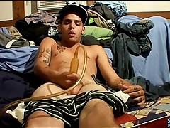 Dude masturbates his dick with a penis pump tubes