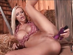 Blonde with fabulous fake tits has toy sex tubes