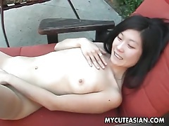 Cute asian on her knees sucking dick outdoors tubes