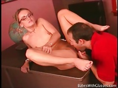 Fit blonde in glasses gives a hot blowjob tubes