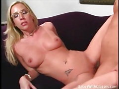 Blonde slut in pretty glasses fuck and facial porn tubes