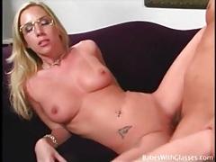 Blonde slut in pretty glasses fuck and facial porn tubes