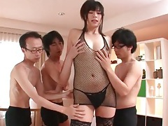 Guys fondle sexy japanese girl in lingerie tubes