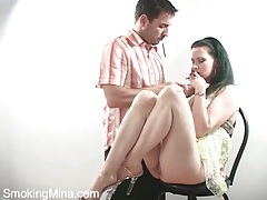 Couple smokes as he eats and fucks her pussy tubes