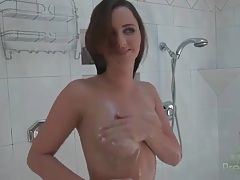 Small tits hope howell takes a sexy shower tubes