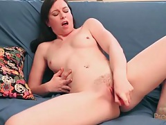 Solo brunette has hot sex with a pink dildo tubes