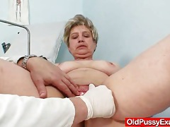 Busty grandmother ruzena visits gyno fetish clinic tubes
