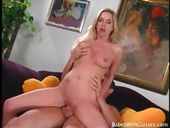 Cock riding blonde wears a pair of sexy glasses tubes