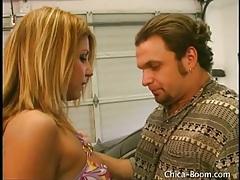 Latina strips and masturbates in his garage tubes
