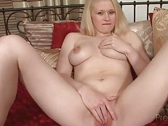 Curvy blonde gently fingers her tight wet pussy tubes