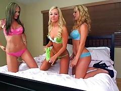 Pornstars pose in bras and panties for fun tubes