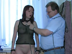 Sexy young girl playing with old man and his old chubby granny tubes