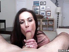 Kendra lust strips sensually and sucks his dick tubes