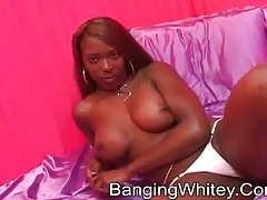 Black chick with fake titties sucks his dick tubes