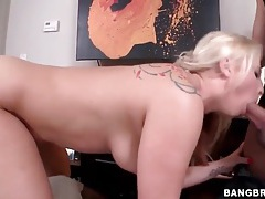 Curvy blonde sucks cock and balls lustily tubes