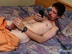 Hairy straight mike jerking off his phallus tubes