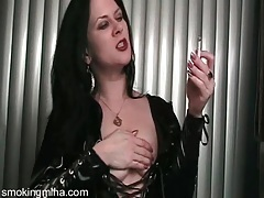 Black latex looks naughty on hot smoking girl tubes