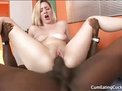 White girl impales pussy on big black cock tubes