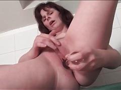 Mature with naughty hard nipples masturbates cunt tubes