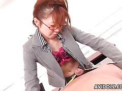 Secretary in glasses and fishnets sucks cock tubes