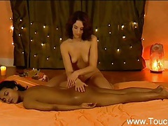 Girlfriends enjoy massaging the body tubes
