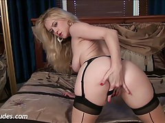 Brookie little in stocking tease tubes