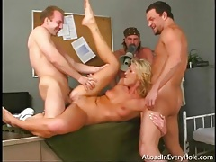 Three men gangbang a dirty blonde whore tubes