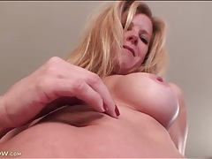 Blonde mature with great fake tits is sexy tubes