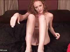 Skinny redhead draws you to her pussy for play tubes