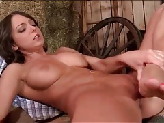 Hot brunette masturbates cunt with her feet tubes