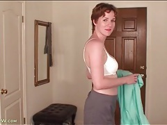 Short skirt and blouse look hot on housewife tubes