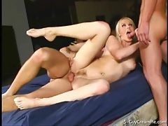 Blonde rides dick to creampie and fucks more tubes
