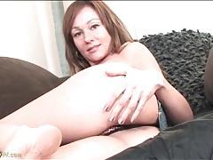 Sasha layne models her thong and masturbates tubes