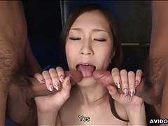 Cocksucking japanese girl fingered lustily tubes