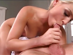 Naked blonde sucks dick on top in 69 tubes