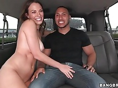 Truly beautiful brunette sucks cock in the car tubes